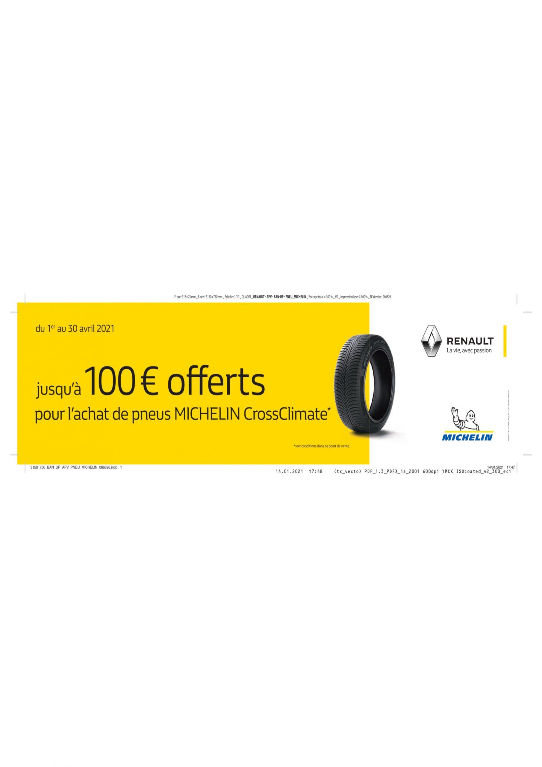jusqu'à 100€ offert sur les pneu Michelin | Garage Daries Agent Renault & Dacia Conques sur orbiel
